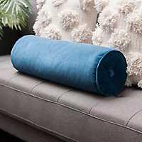 Solid Navy Velvet Bolster Pillow