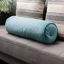 Solid Turquoise Velvet Bolster Pillow