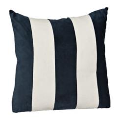 Navy and White Striped Velvet Woven Pillow