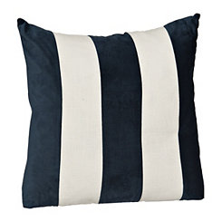 Navy and White Striped Velvet Woven Pillow
