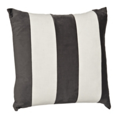 Gray and White Horizontal Stripe Velvet Pillow