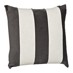 Gray and White Horizontal Stripe Velvet Pillow