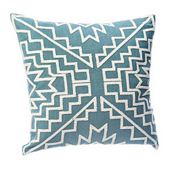 Teal Aztec Embroidered Pillow