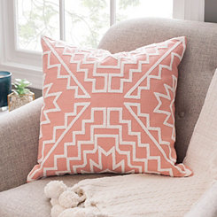 Pink Aztec Embroidered Pillow