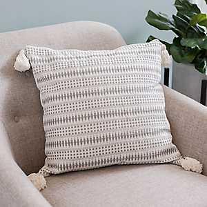 Gray Diamond Dot Tassel Pillow