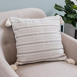 Gray Diamond Dot Tassel Pillow