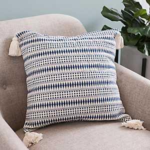 Navy Diamond Dot Tassel Pillow