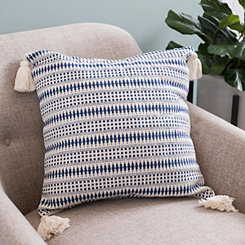 Navy Diamond Dot Tassel Pillow