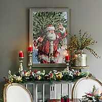 Santa Christmas Tree Picking Framed Art