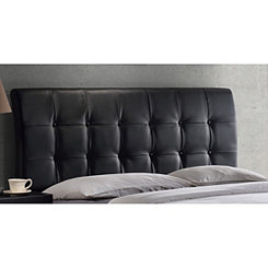 Liam Black Faux Leather Tufted Full Headboard