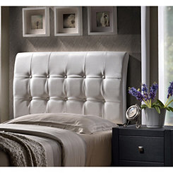 Liam White Faux Leather Tufted Twin Headboard