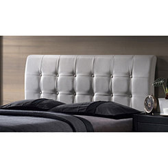 Liam White Faux Leather Tufted Full Headboard