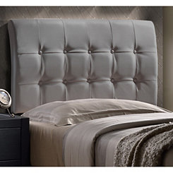 Liam Gray Faux Leather Tufted Twin Headboard