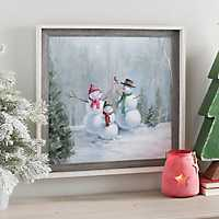 Woodland Holiday Snowman Family Framed Art