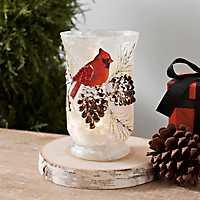 Pre-Lit Cardinal Pine Cone Vase