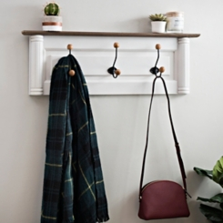 Cream Hooks Wall Plaque with Natural Wood Knobs