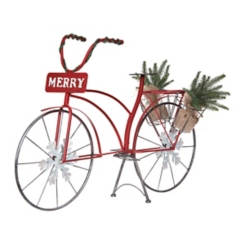 Red Merry Metal Antique Bicycle Planter with Trees