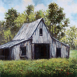 Hand Painted White Country Barn Canvas Art