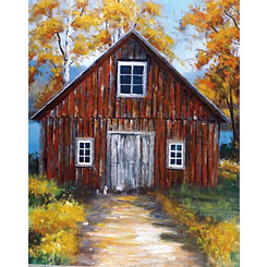 Red Barn Country Scene Canvas Art Print