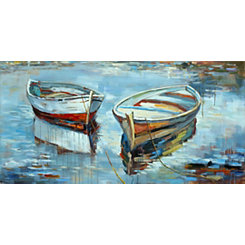 Hand Painted Canoes At Rest Canvas Art