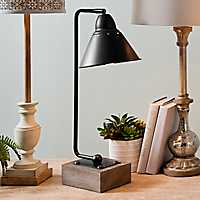 Louis Matte Black Metal and Wood Table Lamp
