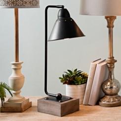 Louis Matte Black Metal and Wood Table Lamp