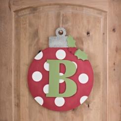 Polka Dot Monogram B Ornament Wall Plaque