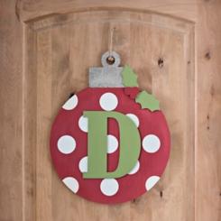 Polka Dot Monogram D Ornament Wall Plaque