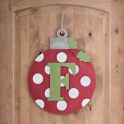 Polka Dot Monogram F Ornament Wall Plaque