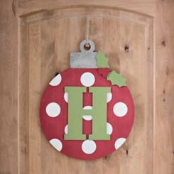 Polka Dot Monogram H Ornament Wall Plaque