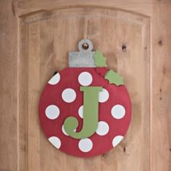 Polka Dot Monogram J Ornament Wall Plaque