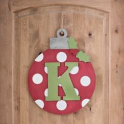 Polka Dot Monogram K Ornament Wall Plaque
