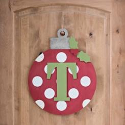 Polka Dot Monogram T Ornament Wall Plaque