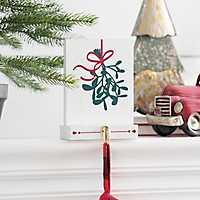 Mistletoe Block Mantel Stocking Holder
