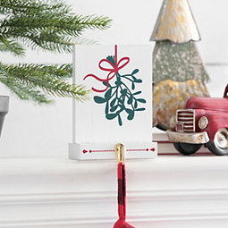 Mistletoe Block Mantel Stocking Holder