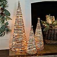 Pre-Lit Tinsel Rattan Cone Trees, Set of 3