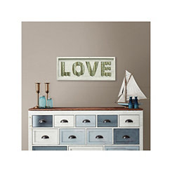 White Wood and Galvanized Metal Love Wall Plaque