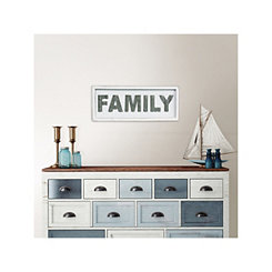 White Wood and Galvanized Metal Family Wall Plaque