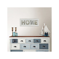 White Wood and Galvanized Metal Home Wall Plaque