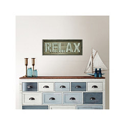 Brown Wood and Galvanized Metal Relax Wall Plaque