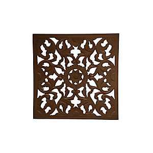Espresso Carved Wood Square Medallion Plaque