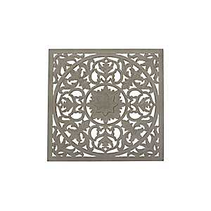 Gray Carved Wood Square Medallion Plaque