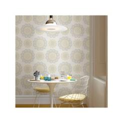 Gray and Yellow Suzani Peel and Stick Wallpaper