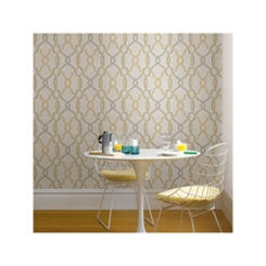 Taupe and Yellow Lattice Peel and Stick Wallpaper