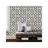 Black and White Trellis Peel and Stick Wallpaper