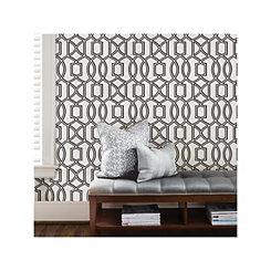 Black and White Trellis Peel and Stick Wallpaper