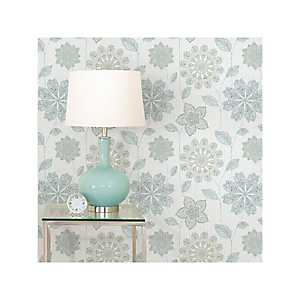 Blue and Green Floral Peel and Stick Wallpaper