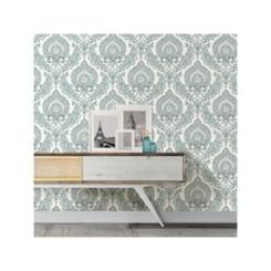 Kensington Damask Blue Peel and Stick Wallpaper