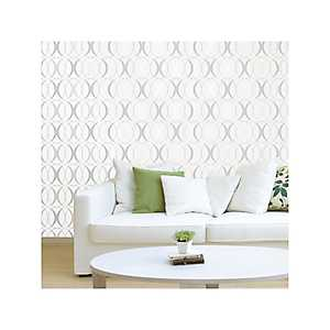 Silver Circulate Light Peel and Stick Wallpaper