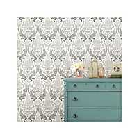Gray Nouveau Damask Peel and Stick Wallpaper